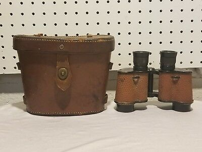 Vintage Binoculars WW2 Military Range Finder 6x30 W/Leather Case