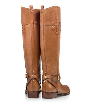 3f2d3bb0628d3 Tory Burch Joanna Black Leather Riding Boots Gold Logo Size 8.5 New  495.