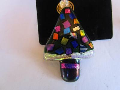 Vintage Dichroic Glass Stained Glass Christmas Tree Pin Brooch Artist Made