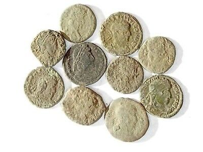 10 ANCIENT ROMAN COINS AE3 - Uncleaned and As Found! - Unique Lot 25921