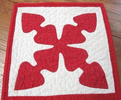 Christmas Red Hearts! c 1880s Applique QUILT Antique Table Doll Runner 27 x 13