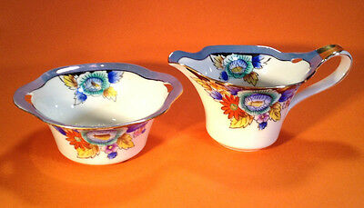 Noritake Creamer And Sugar - Hand Painted With Gold Accents - Blue Rims - Japan