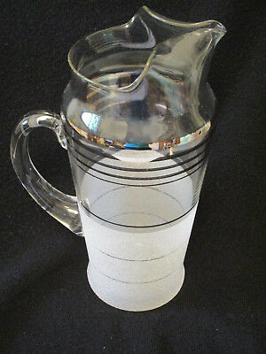 Martini Cocktail Pitcher Frosted Silver Banded Vtg Mid Century Modern circa 1960