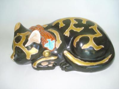 Beautiful Antique Japanese Kutani Porcelain Sleeping Black Cat 10""