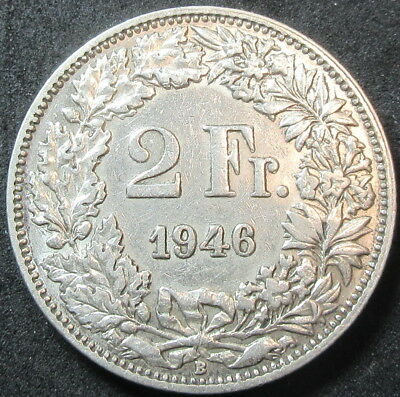 1946 Switzerland Silver Two Franc Coin