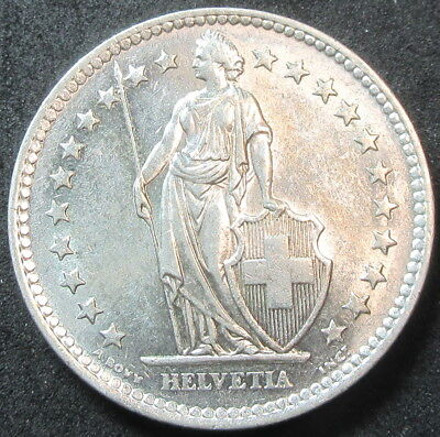 1964 Switzerland Silver Two Franc Coin