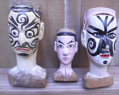 Antique/vintage hand-made,hand-painted,Japanese folk art Kabuki/Noh wooden heads