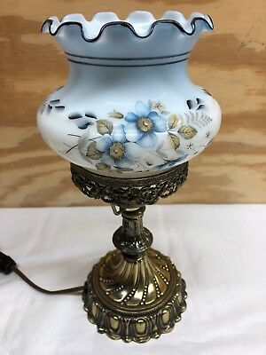 Westmoreland Glass Blue Floral Electric Decorator Table Lamp
