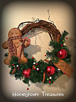 """Primitive Gingerbread Man with Red Jingle Bells in 12"""" Grapevine Wreath!"""