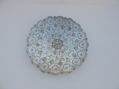 FINEST ANTIQUE SIGNED PERSIAN ISLAMIC SOLID SILVER DISH TRAY 268 gr 9.4 oz