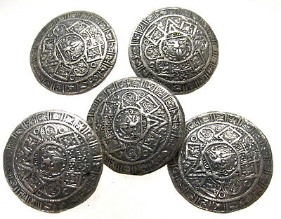 Nice Set Of 5 Vintage Mexican Sterling Buttons W/ Mayan Motif E25