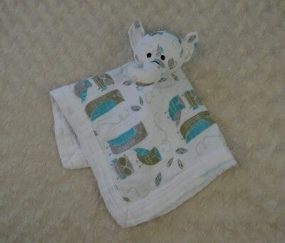 Aden + Anais Elephant Lovey Security Blanket Musy Mate Blue White Owls Organic