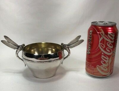 Gorgeous ARGIT French Silver Plated ART DECO Small Bowl w Dragon Fly Handles