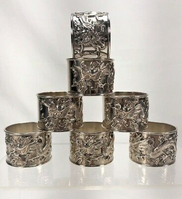 7 Antique Chinese Heavy Pure Silver Napkin Rings w Gorgeous Dragon Design 317g