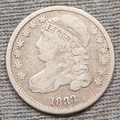 """1833 Capped Bust Dime - High """"3"""" Variety"""
