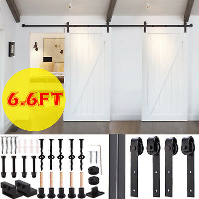 6FT Single Steel Sliding Barn Door Hardware Kit Track Rail Set Country Style