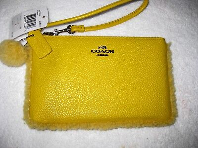 "Coach Banana Yellow Leather Shearling Wristlet 4"" 7"" Nwt"