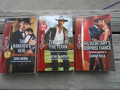 3 Harlequinn Desire Paperback Novels, Lot of Three Books, Rancher Texan Fiance