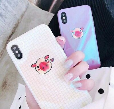 For iPhone XS MAX XR 8 7 6s 6 Plus Cute Pig Blue Ray Soft Protective Phone Case
