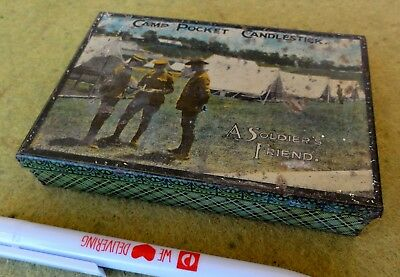 """VERY RARE AUSSIE WW1 CANDLES AND MATCHES TIN in VGC.  5"""" X 3 1/2""""."""