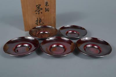 R6574: Japanese Casting copper TEA CUP TRAY Saucer Chataku 5pcs w/signed box
