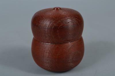 R6561: Japan Wooden Lacquer ware Gourd-shaped TEA CADDY Natsume Chaire Container