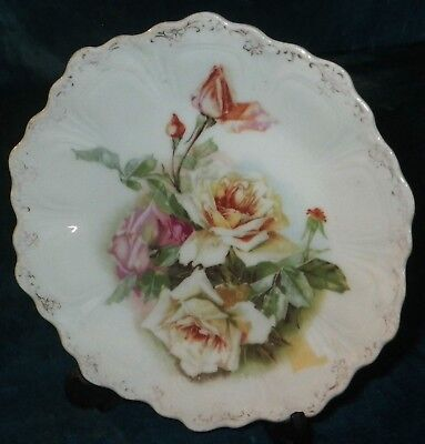 "Antique Z.s. & Co. Bavaria 6"" Plate Hand Painted Roses Fine Porcelain Gremany"