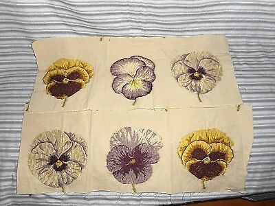 Two pieces of vintage jacquard textiles with bold pansies