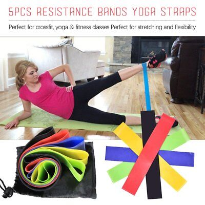 5pcs Resistance Loop Bands Mini Band Exercise Crossfit Strength Fitness GYM 6T