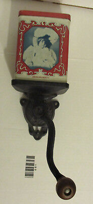 Antique Wall Mounted Coffee Grinder Old Advertising American Beauty Tin