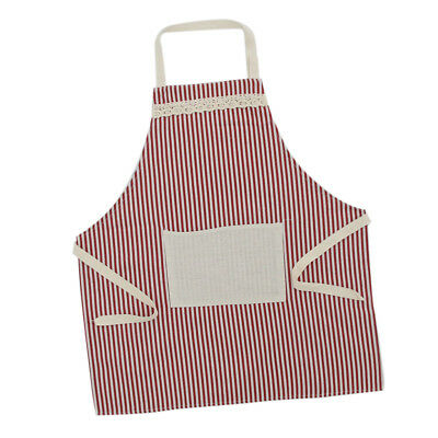 Cooksmart Cotton Linen Apron w/ Pocket Home Cooking Baking Kitchen Chef Red