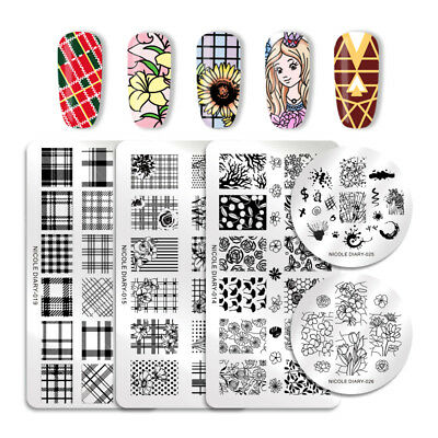 NICOLE DIARY Nail Stamping Plates Geometric Flower Lace Manicure Image Templates