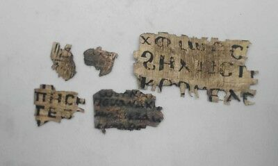 Amazing rare Coptic Egyptian papyrus in Greek or Latin lot of 5