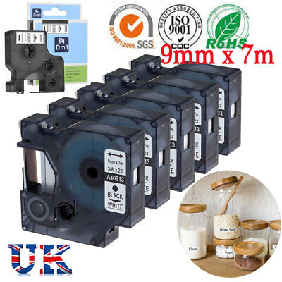 1-5x DYMO D1 tape cartridge 40913 ,40910 9mmx7m for DYMO label manager printer