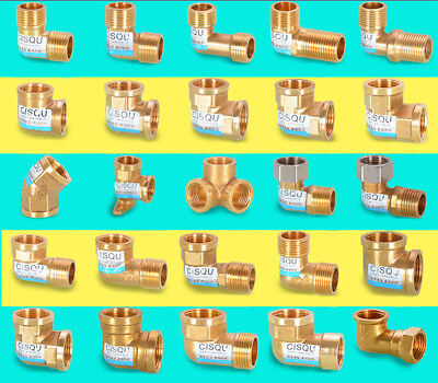"""1/2"""" 3/4""""Brass Elbow Adapter Connector Water Gas Pipe Male/Female Thread Fitting"""