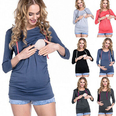 Womens Jumper Breast Feeding Baby Carrier Pullover Nursing Top Maternity Blouse