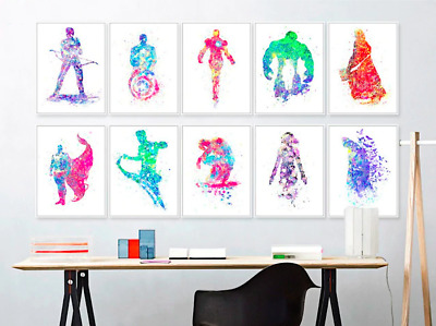 SUPERHERO CHARACTERS Canvas Art Poster Prints Marvel DC Comics 9 SIZES: 13-100cm