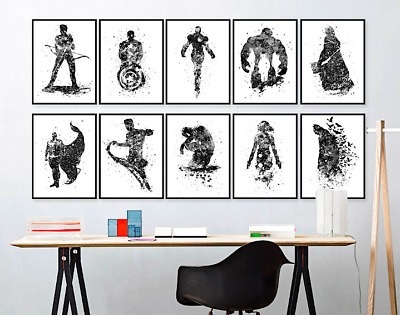 SUPERHERO CHARACTERS Canvas Art Poster Prints Marvel DC Comics  9 SIZES 13-100cm