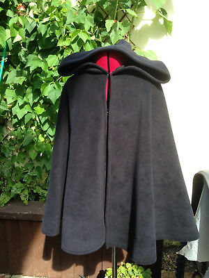 black fleece short cape with hood warm soft  witch wizard party goth