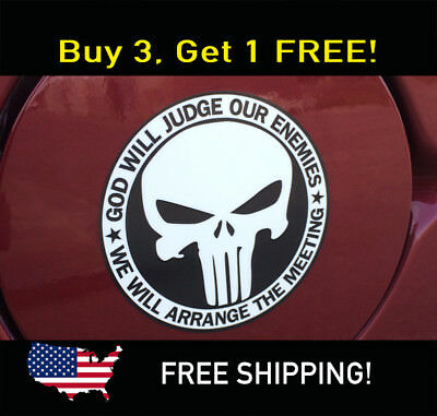 Punisher Skull Pegatina Parachoques God Will Judge Our Enemies Swat Ops Militar