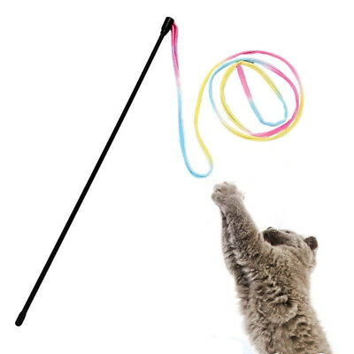 Pet Cat Dancer Teaser Stick Wand Kitten Kids Colorful Interactive Stick