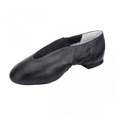 BLOCH 461 Pure Jazz Black Leather Pull On Split Sole Dance Shoes