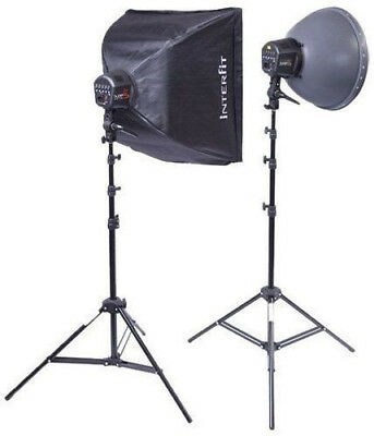 Studio Lighting Kit Interfit INT117 Super Cool Lite 5 Softbox Reflector Stands