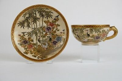 Antique japanese Satsuma cup and saucer, marked, cranes & flowers Meiji 19thC