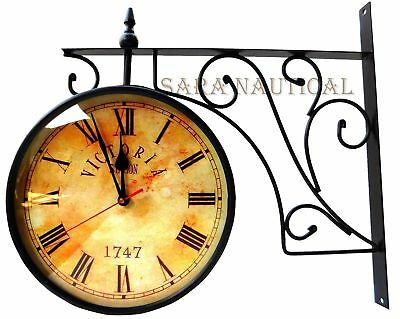 Victoria Station Antique Railway Brass Clock Nautical Double Side Wall Clock