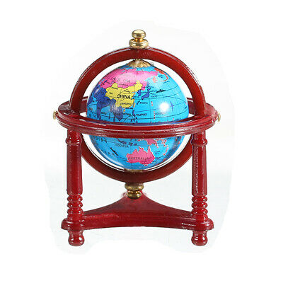 Miniature 1:12 Rolling World Globe with Wooden Stand Dollhouse Furniture Decor