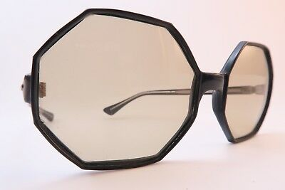 Vintage 60s sunglasses black acetate octagonal SOLAR glass lens made in Italy