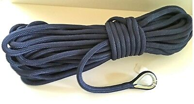 """1/2"""" X 100 'anchor Line  Navy Double Braid Nylon Dock Rope Made In  Usa"""