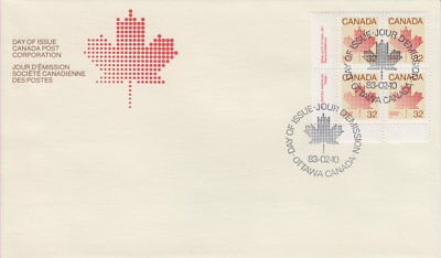 Canada #924 32¢ Maple Leaf Definitive Ll Plate Block First Day Cover