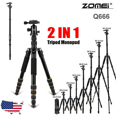 ZOMEI Q666 Professional Tripod&Ball Head Portable Travel Monopod for DSLR Camera